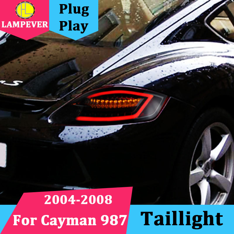 Car tail lights for Porsche Cayman 987 Year 2004-2008 taillights LED Tail  Lamp rear trunk lamp cover drl+signal+brake+reverse