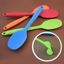 Силиконовая Термостойкая Гибкая ложка, длинная ручка, лопатка, антипригарный скребок, лопатка-ложка для мороженого, кухонная посуда, инструмент