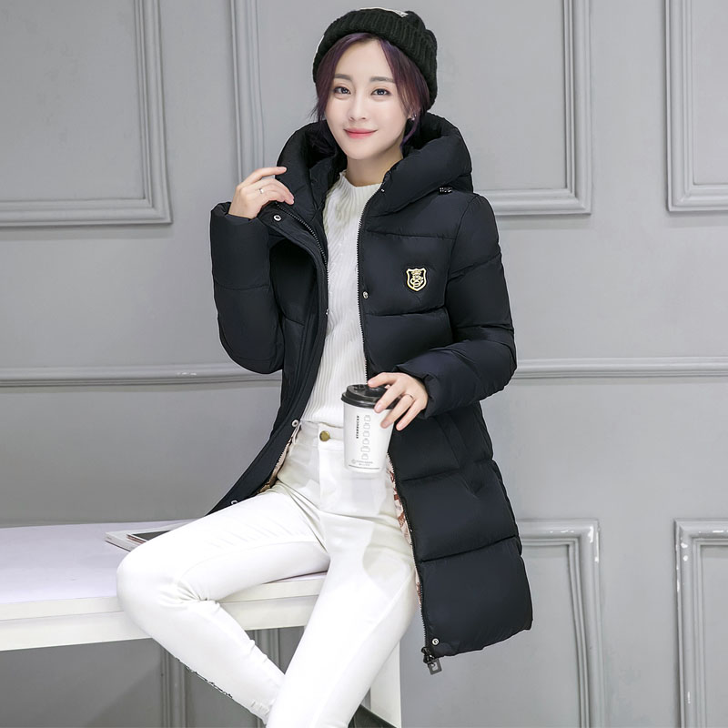 ФОТО Winter Jacket Women Long Warm 90 Cotton Parka Down Jackets Fashion Zipper Coat Women's Solid Color Hooded Cotton Parkas Coats
