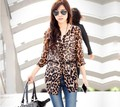 Casual Women Blouse Leopard Print Blusas Femininas 2016 Fashion Tops Shirt Chiffon Shirts Half Sleeve Plus Size $k