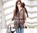 Casual Women Blouse Leopard Print Blusas Femininas 2016 Fashion Tops Shirt Chiffon Shirts Half Sleeve Plus Size $k