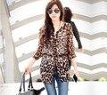 Mulheres casuais Blusas Femininas 2016 Moda Tops Camisa Blusa Estampa de Leopardo Chiffon Camisas Meia Manga Plus Size $ k
