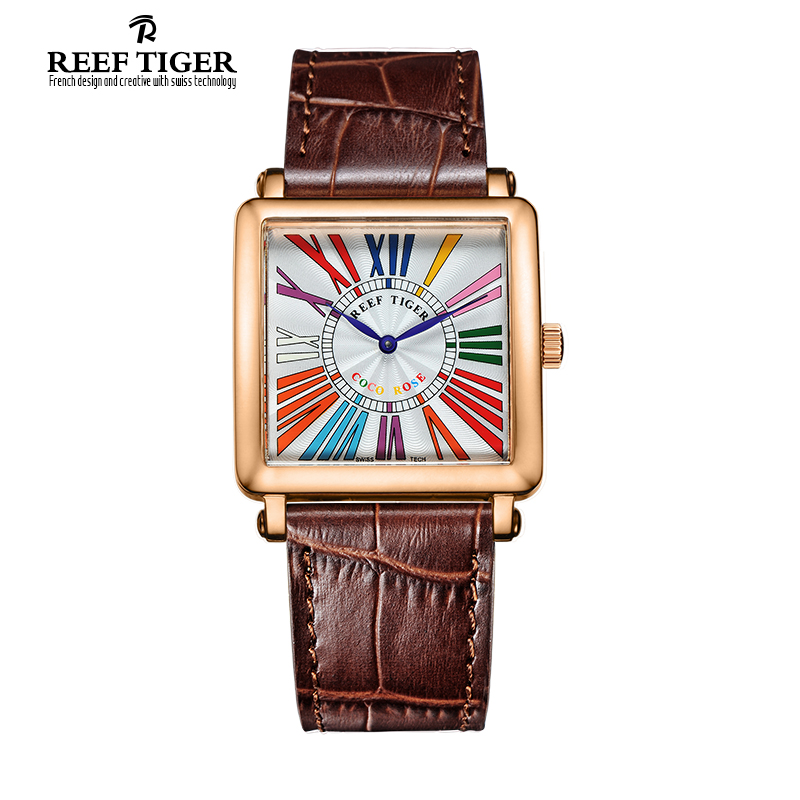Reef Tiger/RT Watches High Quality Quartz Watch for Women Fashion Rose Gold Leather Strap Colorful Roman Numeral Watch RGA173 top brand reef tiger rt watches luxury fashion ladies dress quartz black watch rose gold diamonds watch for women rga172