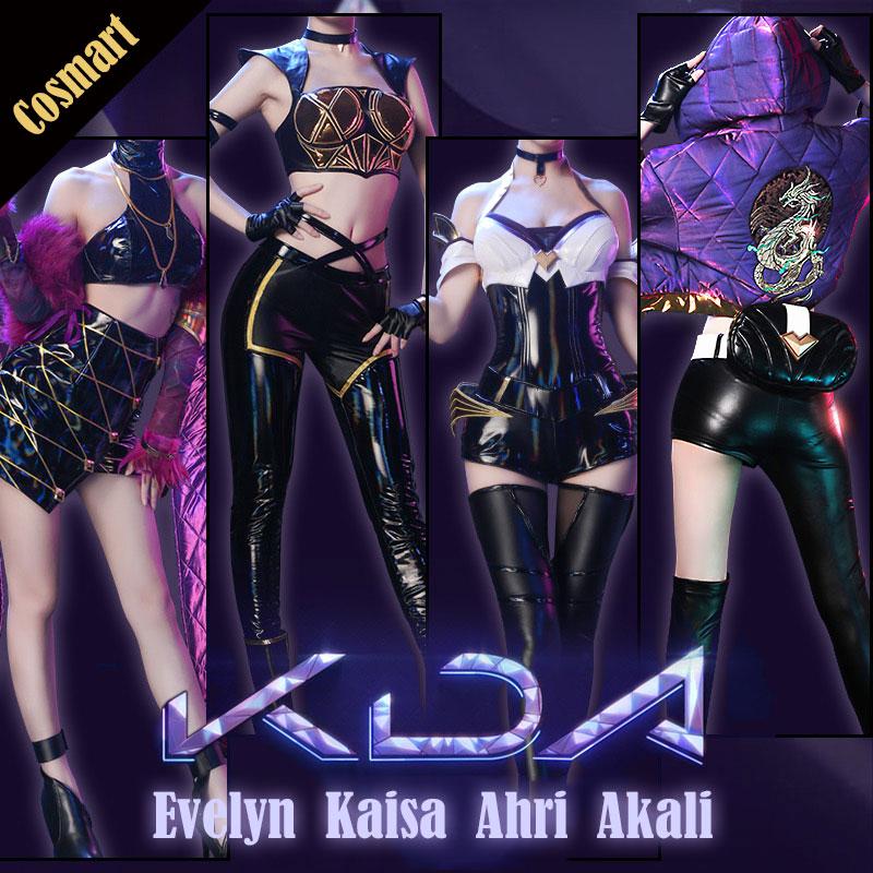 [Banco] 2018 Jogo LOL KDA K/DA Ahri Kaisa Evelynn Akali Cosplay Traje Uniforme de Couro PU Completo conjunto de traje de Halloween para