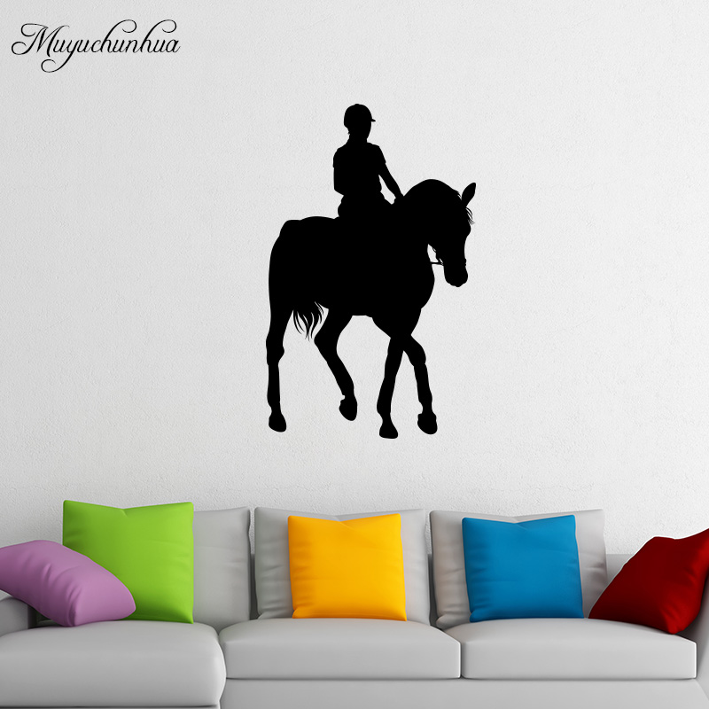 Muyuchunhua Graceful Horsewoman Wall Sticker for Living Room Bedroom Home Decor Horse Wall Decals Kids Room Decorative Stickers