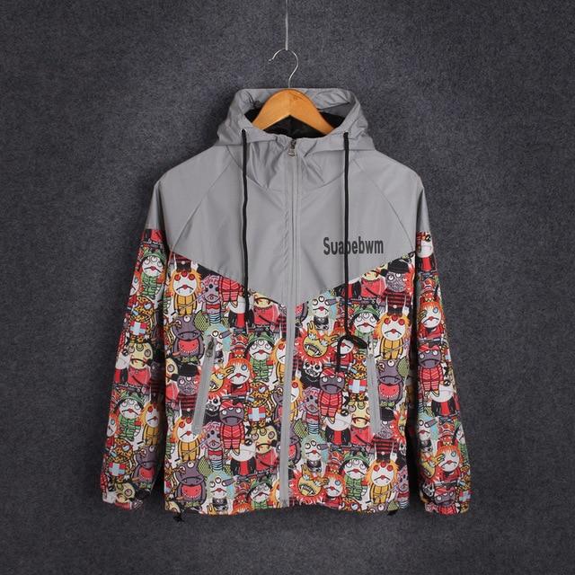 Bomber Jacket Men Winter Windbreaker Outerwear softshell Jackets&Coats Hooded Print Cartoon Fashion 2016 Veste Homme Windcheater