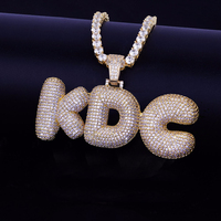 LuReen Custom Name Iced Out Bubble Letters Pendant Necklaces Men Hip Hop Cubic Zircon Necklace Gold Silver Tennis Chain Jewelry