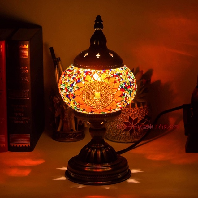 Etonnant E14 Hand Inlaid Glass Mosaic Bedroom Living Room Decorative Table Lamps Of  Mediterranean Style Turkish