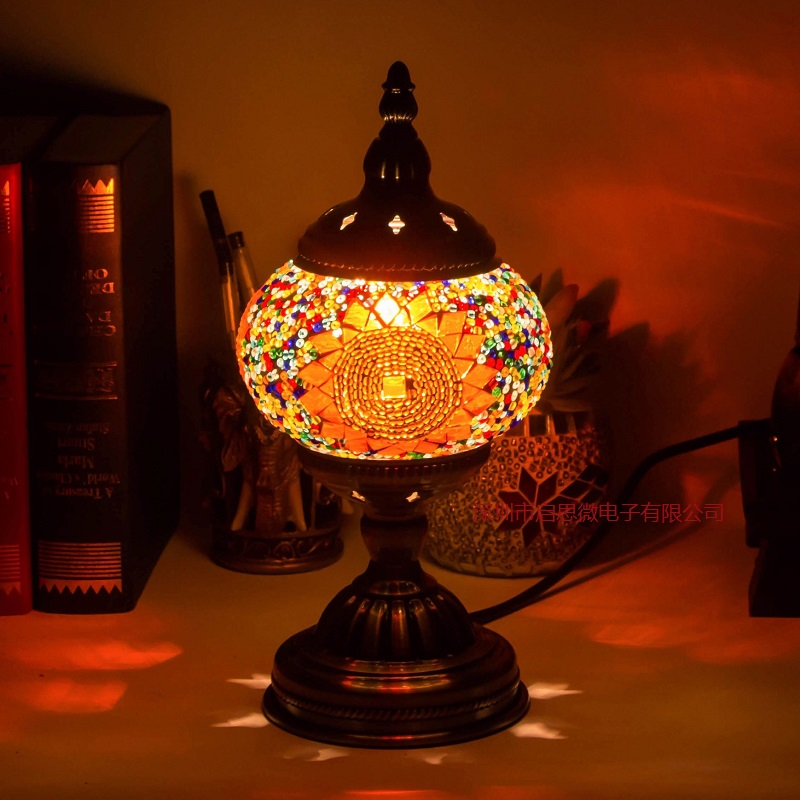 E14 Hand inlaid glass mosaic bedroom living room decorative Table Lamps of Mediterranean style Turkish Lamps