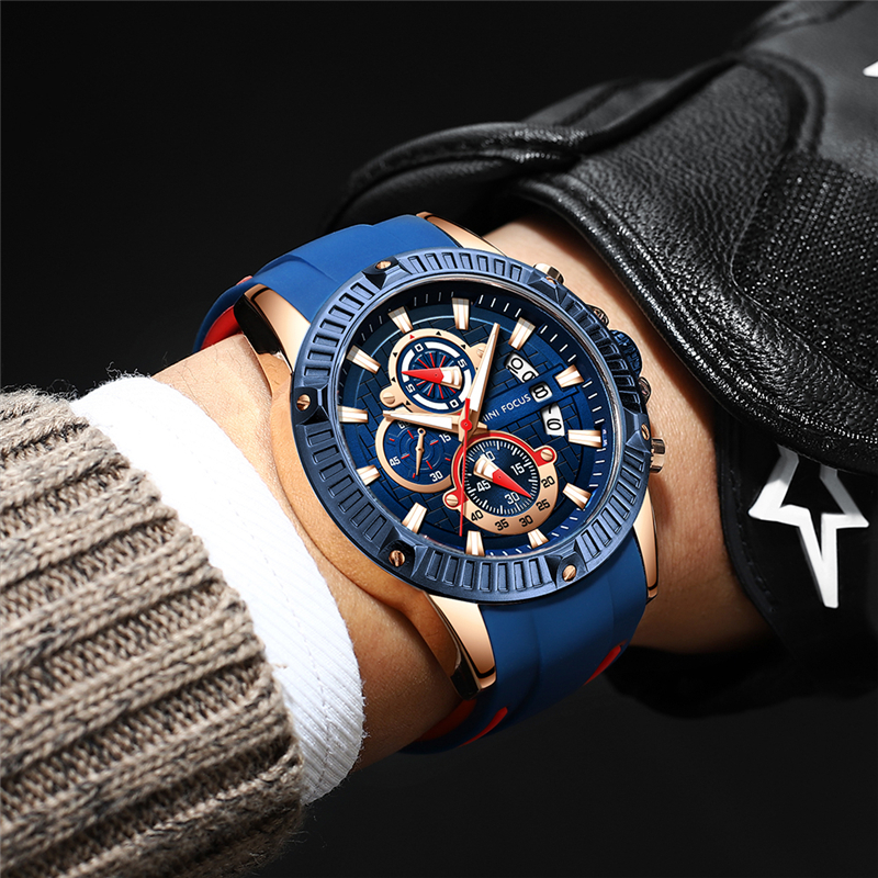 MINIFOCUS Sport Wrist Watch Men Luxury Waterproof Relogio Masculino Fashion Brand Military Men's Wristwatch Quartz Silicone Blue 1