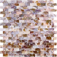 Natural Mother of Pearl Oyster Mini Brick Shell Mosaic Tile for Bathroom/Kitchen Backsplashes 6 Sq Ft Pack of 6