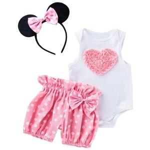 Комплект летней одежды для новорожденных девочек, праздничная одежда принцессы на день рождения, топы + штаны + повязка на голову, комплект и...