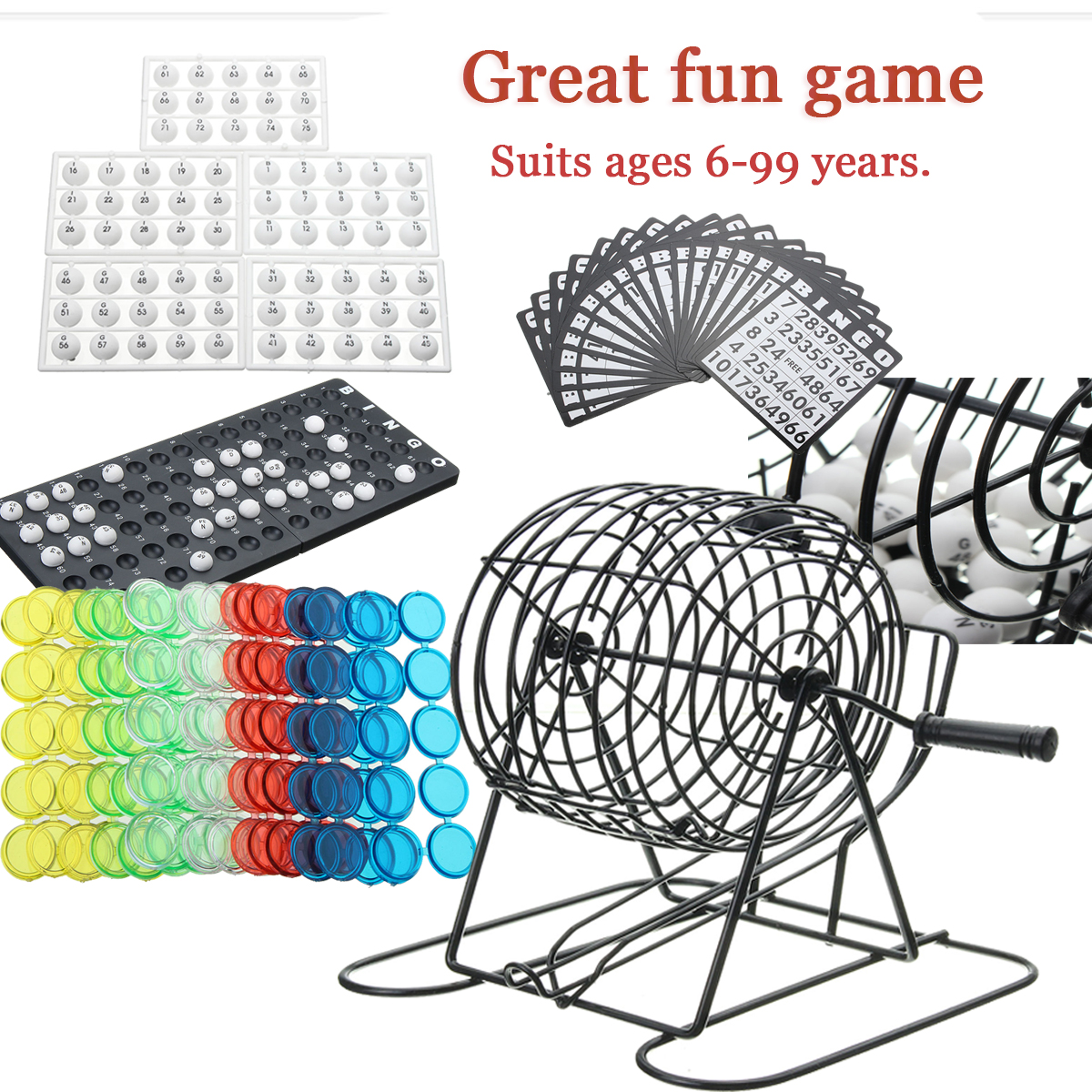 245X Traditional Bingo Lotto Lottery Family Game Set - Cage Balls Cards Counters Party Bingo Game Lucky Balls Game