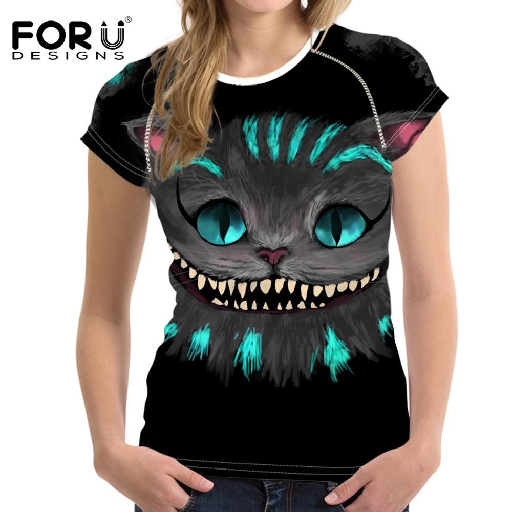 Forudesigns schwarz 3d cat tier casual sommer frauen t-shirt crop - Damenbekleidung - Foto 2