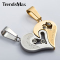 Trendsmax Men Women Couple Silver Gold Black Love Heart CZ Pendant Necklace 316L Stainless Steel Gift Promotion Jewelry KPM17