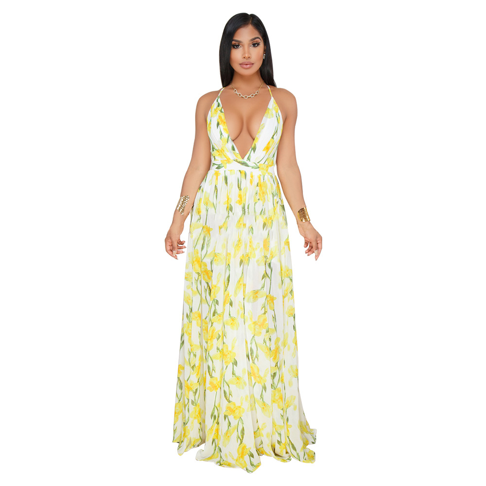 Spaghetti Strap V neck Maxi Dress Sleeveless Floral Print Boho Long Dress Beach Holiday Backless Party Vestidos Sundress in Dresses from Women 39 s Clothing