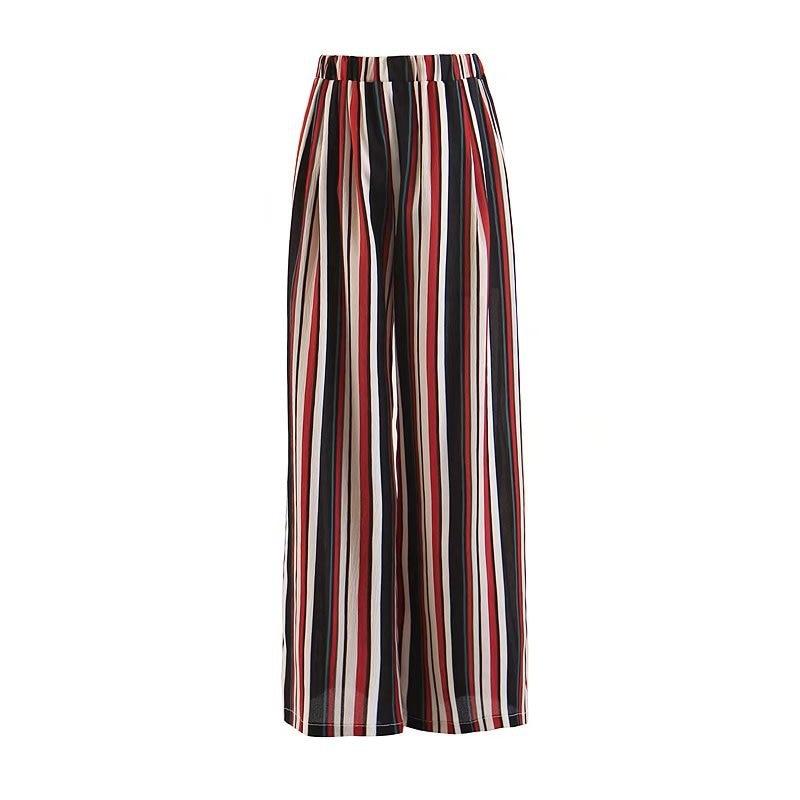 2019 Summer Women Fashion Colorful Striped Print Wide Leg   Pants   Casual High Elastic Waist Full Loose Trousers