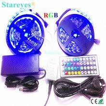 1 set SMD 5050 60 LED / M 10M RGB led Strip tape flashlight led light Non Waterproof RGB strip+44 key IR Remote+6A Power Adapter