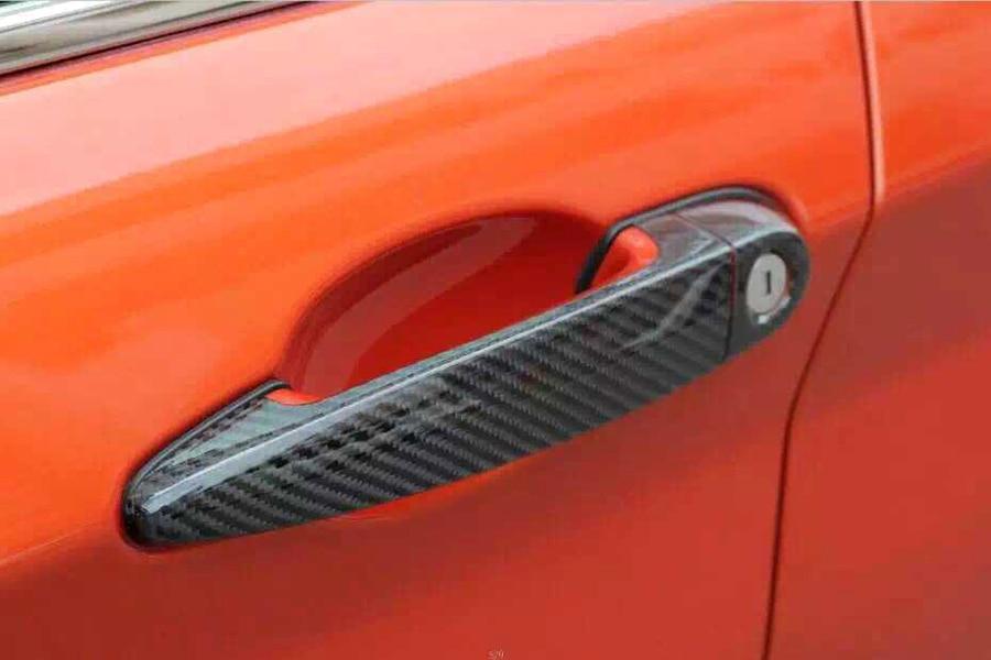 2 Door Universal Carbon fiber Side Door Handle Cover Trim with LED ...