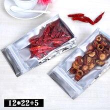 100pcs/lot 12cm*22cm+5cm*200mic High Quality Eight Edge-Sealing Bag Ziplock Bags Heat Seal Foil Bags Plastic Bag(China (Mainland))