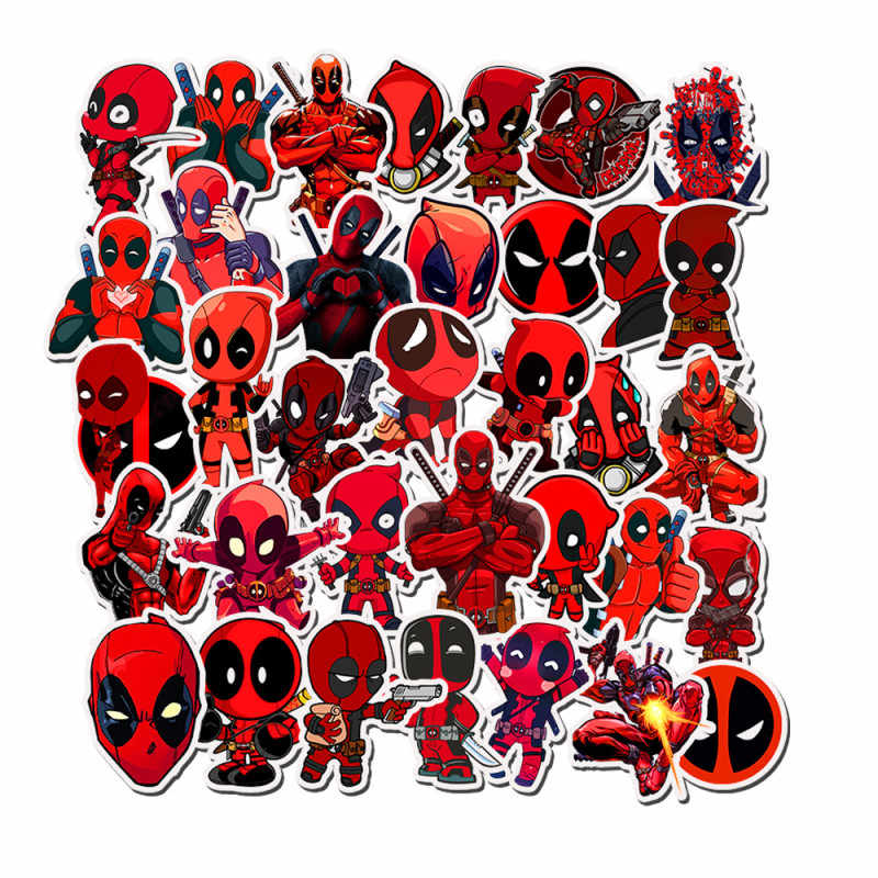 35PCS Super Heroes Deapool Scrapbooking Suitcase Skateboard Laptop Stickers Pack Marvel Waterproof Sticker Toy For Children Gift