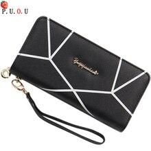 цены на PUOUNew Womens Wallets and Purses Plaid PU Leather Long Wallet Hasp Phone Bag Money Coin Pocket Card Holder Female Wallets Purse  в интернет-магазинах