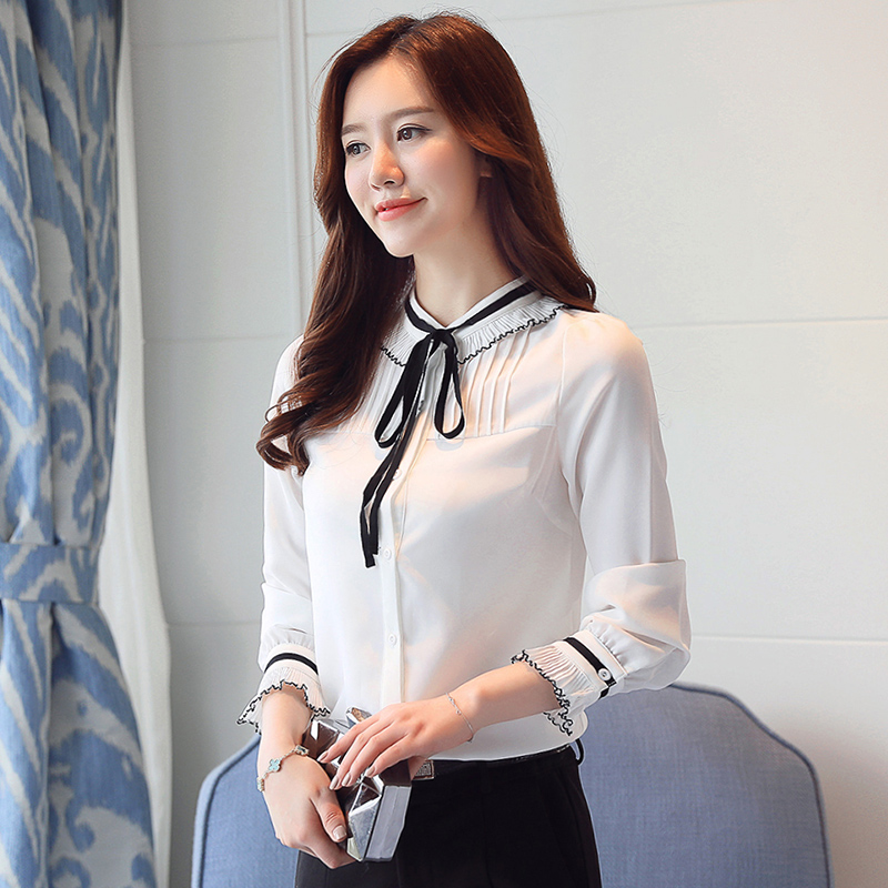 468f237e6285f White Chiffon Shirt Women Blouse High Qualiry Long Sleeve Plus Size XXL Pleated  Bow Lace up Chiffon Blouses Solid Female Shirts-in Blouses   Shirts from ...