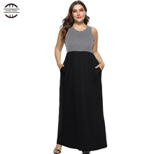 Plus Size Women Dress 2018 Summer  O Neck Striped Patchwork Sleeveless Maxi 4XL Big Party