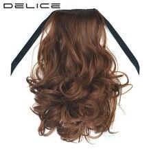 Delice 16 дюймов Для женщин короткие Лента хвост чёрный; коричневый вьющиеся термостойкость Синтетические волосы конский хвост 100 г/шт.