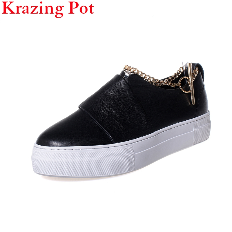 2019 Fashion Chain Brand Flat with Sneaker Genuine Leather Platform Round Toe Increased Metal Wholesale Women