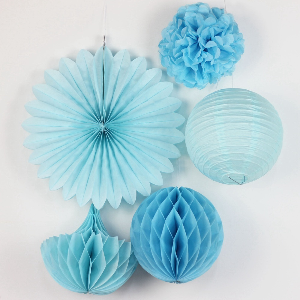 DIY Paper Crafts Blue Happy Birthday Decoration Tissue Paper Pom Poms Baby Boy Blue Bunting Birthday Decoration Party Favors