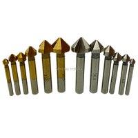 6pcs 90 Degree Three Flutes HSS Chamfering Cutter Countersink Drill Bits End Mill Set 6.3mm 8.3mm 10.4mm 12.4mm 16.5mm 20.5mm