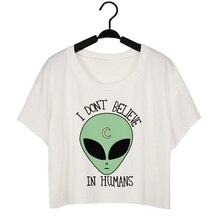 766210d9184 Women s Fashion Crop Tops Summer T-shirts Short Sleeve Clothing Printed  Alien Femme Tee Shirt