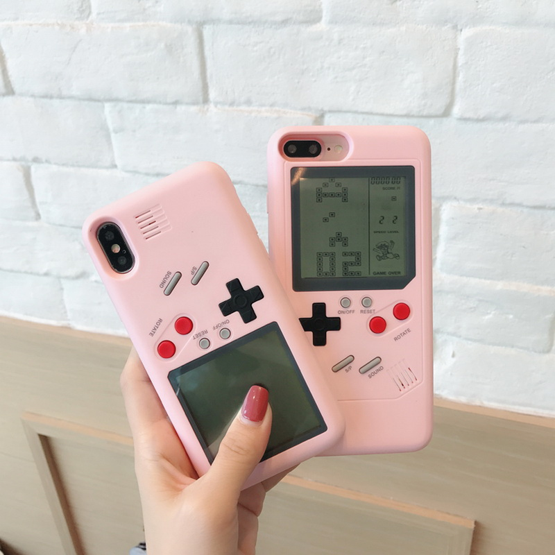 Fashion Tetris Console Handheld Game Machine Phone Case For iPhone X 8 Plus Hard PC Plastic Cover For iPhone 6 6S 7 Plus Coque