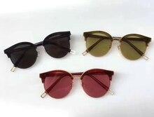 2017 Gentle Sunglasses Women Colorful Frame Cat Eye Mirror Half Frame Oval Lens sign of two Brand Designer Ladies Sunglasses