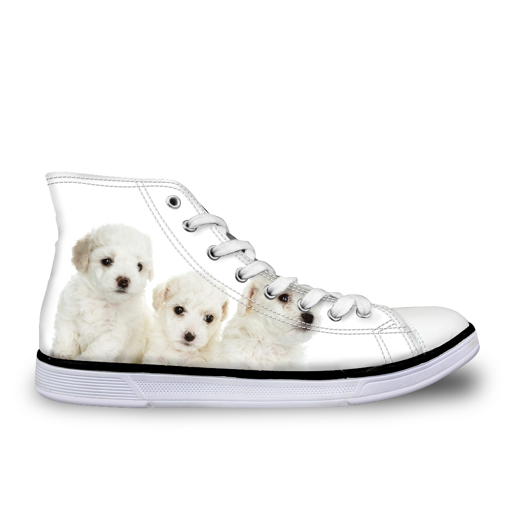 FORUDESIGNS Flats Men Shoes Cute Dogs Animal Print High Top Autumn Men