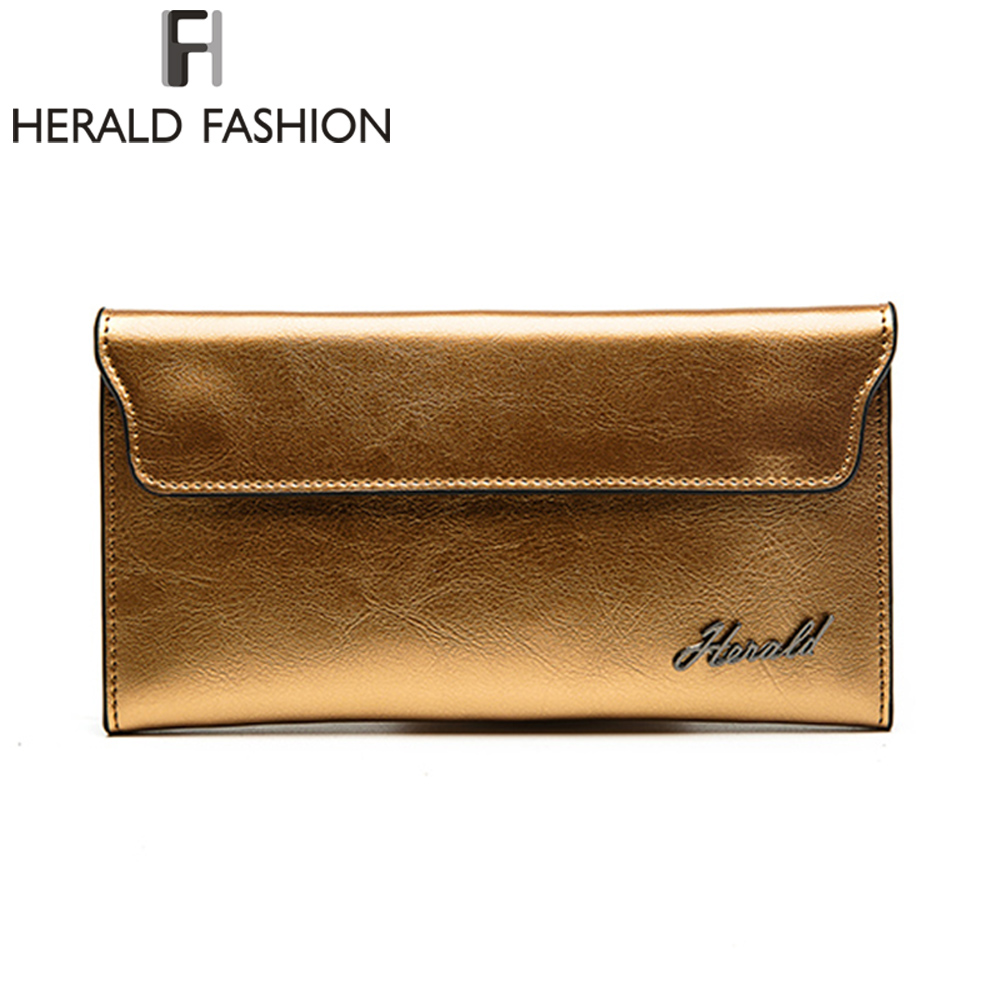 Herald Fashion PU Leather Women Wallet Long thin Purse Cowhide multiple Cards Holder Clutch bag Fashion Standard Wallet