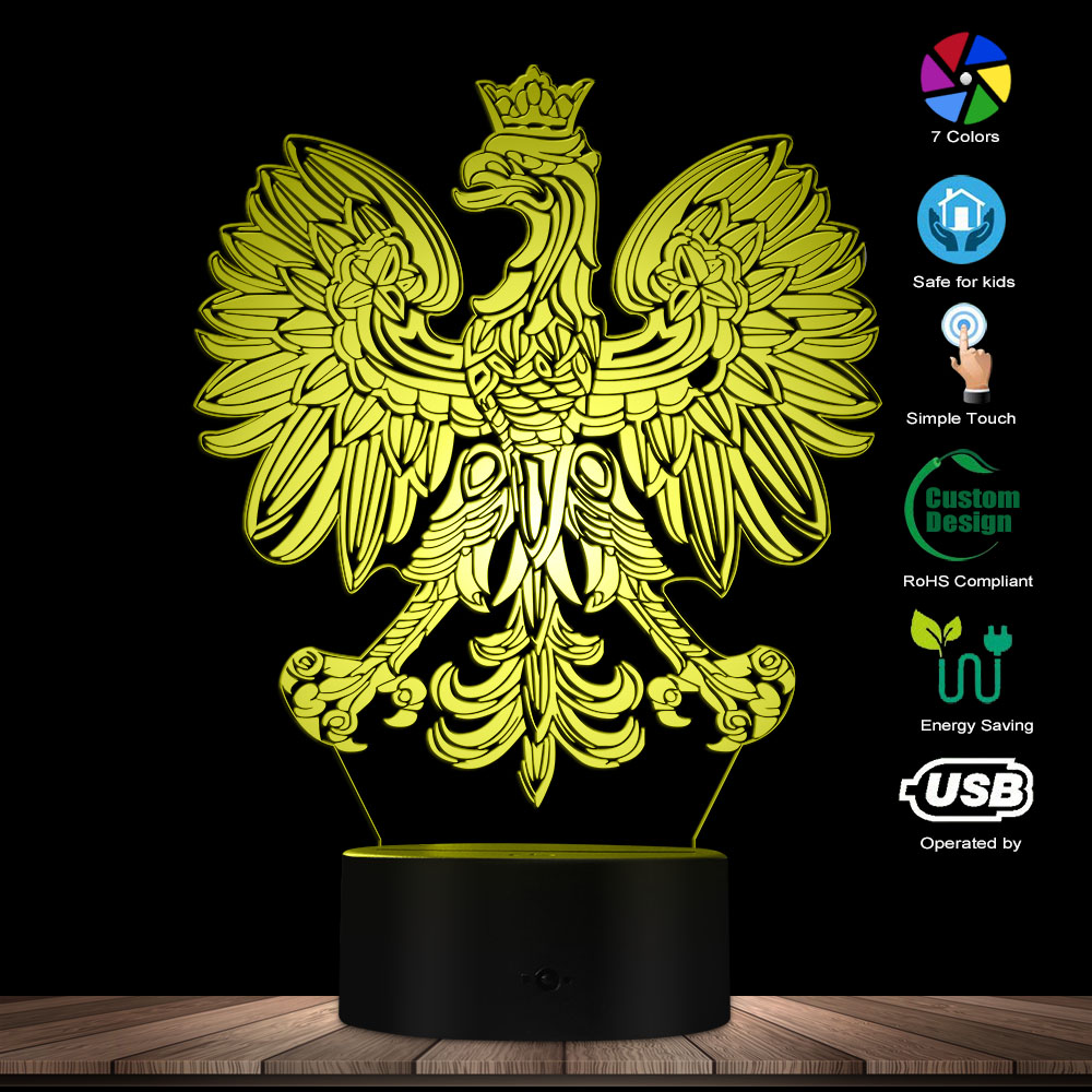 Polish Coat Of Arms Polska 3D Optical Illusion USB Light Home Decor Patriotic Polish Eagle Falcon LED Novelty Desk Night Lamp