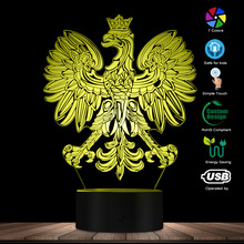 Polish Coat of Arms Polska 3D Optical illusion USB Light Home Decor Patriotic Polish Eagle Falcon LED Novelty Desk Night Lamp