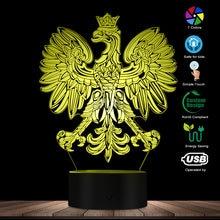 new product 7ff5d c3e60 Polish Coat of Arms Polska 3D Optical illusion USB Light Home Decor  Patriotic Polish Eagle Falcon LED Novelty Desk Night Lamp