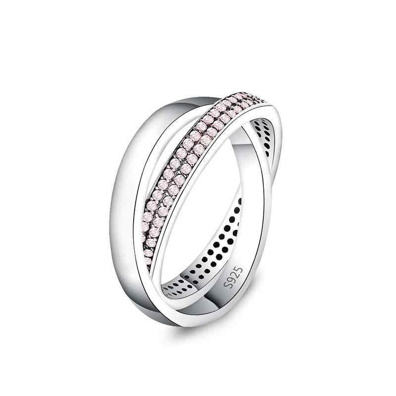 925 כסף טבעת קסם סגול/ורוד/לבן אמייל כיכר קריסטל אצבע טבעות נשים תכשיטים