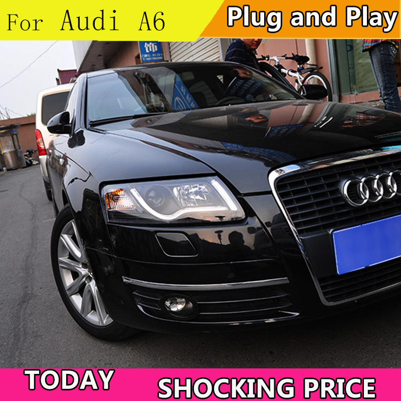 doxa Car Styling Headlight assembly 1999 2004 for AUDI A6 DoubleU Angel Eye LED DRL Lens Double Beam H7 with hid kit 2 pcs.