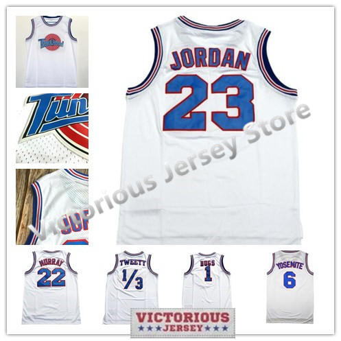 a6527e1118a Detail Feedback Questions about Minanser Space Jam 1 Bugs 2 D.Duck 10 Lola  22 Murray 23 Jordan ! Taz 1 3 Tweety Tune Squad Basketball Jersey Stitched  White ...