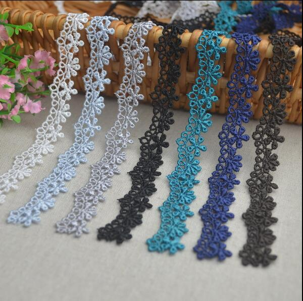 5 Meters Thin Black Blue Lace Trim Lace Applique Polyester For Clothes Home Textiles Apparel Sewing Lace Fabric