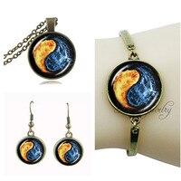 Joyería de la vendimia set sistema de la joyería zen yin yang cruz collar y aretes de bronce antiguo colgante espiritual religión joyería