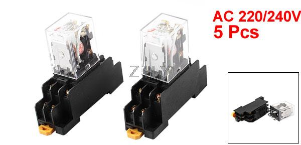 Socket Base AC 24V Coil Red Light DPDT 8 Pins Power Relay 5 Pcs