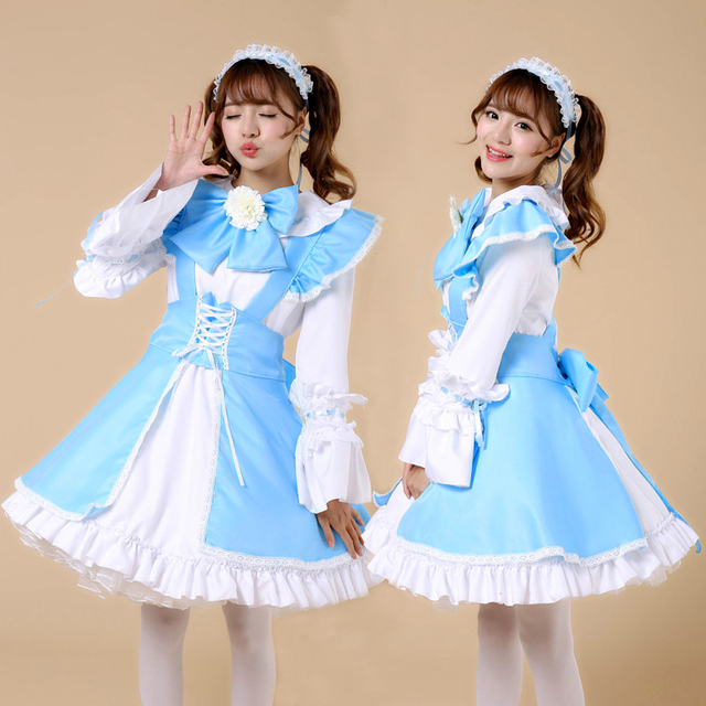 high quality Plus Size Long sleeves maid costume Halloween maid Cosplay  performance Uniform Japanese Sweet Gothic Lolita Dress e0b6773a935c