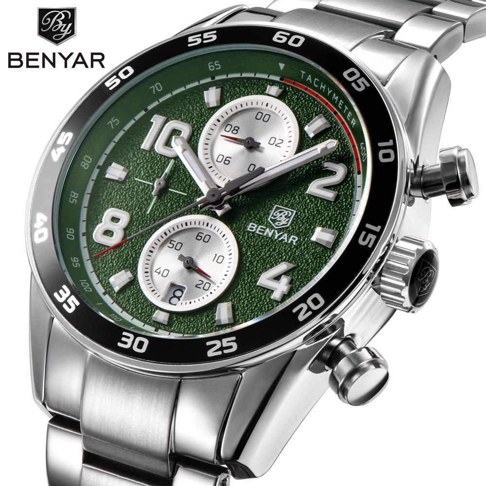 BENYAR Stainless Steel Men Sport Watches Top Brand Luxury Quartz Chronograph Business Waterproof Watch Male Wrist Watch Clock luxury brand jedir male watches chronograph stainless steel quartz watch men business waterproof wrist watch relogio masculino