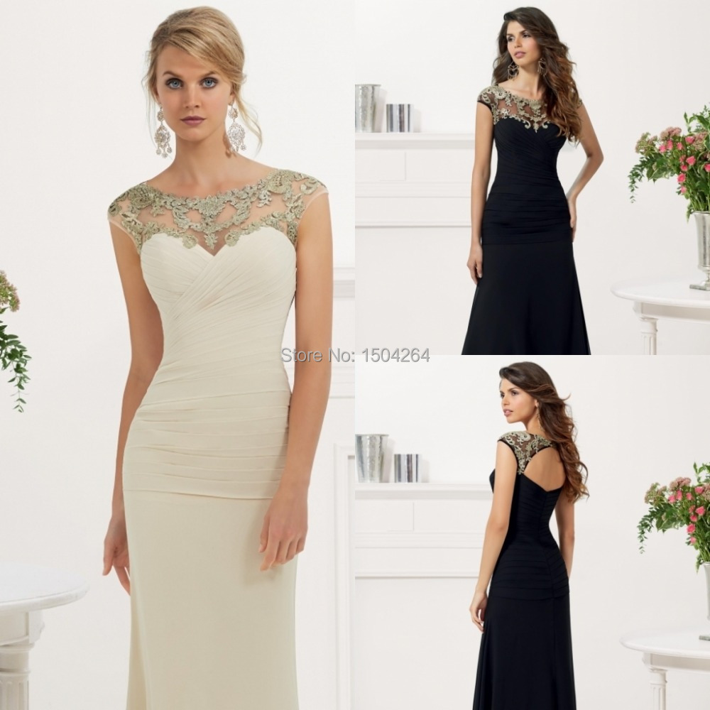 Fashion a line bride mother dresses for weddings appliques for Parents dress for wedding