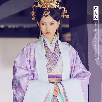 Mi BaZi Same Design Purple Embroidery Qin Dynasty Hanfu Princess Costume for 2016 Newest TV Play Si Mei Ren Song of Phoenix norman f gorny northern song dynasty cash variety guide 2016